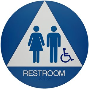 Restroom sign blue